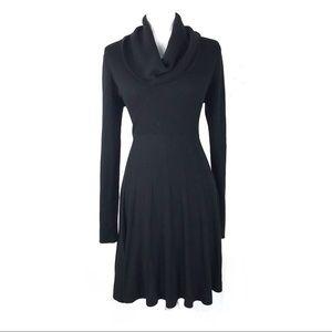 Calvin Klein M dress cowl neck long sleeve pleated